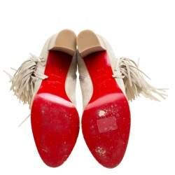 Christian Louboutin Beige Suede Jimmy Netta Tassel Detail Block Heel Ankle Boots Size 37.5