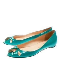 Christian Louboutin Green Patent Leather Un Voilier Peep Toe Flats Size 36.5