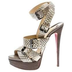 Christian Louboutin Beige Cobra Toutenkaboucle Strappy Platform Sandals Size 36