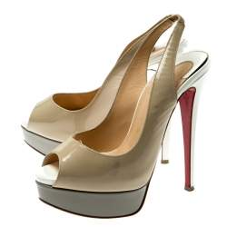 Christian Louboutin Tricolor Patent Leather Private Number Peep Toe Slingback Sandals Size 35.5