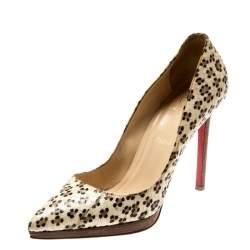Christian Louboutin Cheetah Print Python Leather Pointed Toe Pumps Size 39.5