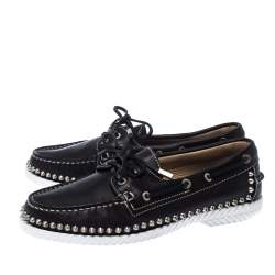 Christian Louboutin Black Leather Steckel Spike Boat Loafers Size 38.5