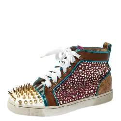 Christian Louboutin Multicolor Crystal Embellished Leopard Print Calfhair and Leather Spikes High-Top Sneakers Size 36