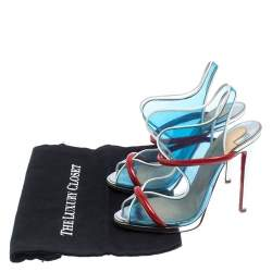 Christian Louboutin Blue/Red PVC And Patent Leather Aqua Ronda Sandals Size 38.5