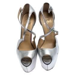 Christian Louboutin Metallic Silver Leather Exagona Platform Sandals Size 37.5