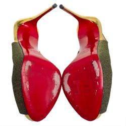 Christian Louboutin Multicolor Woven Fabric Peep Toe Slingback Sandals Size 37.5