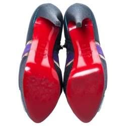 Christian Louboutin Mutlicolor Glitter Ziggy Peep Toe Ankle Booties Size 36