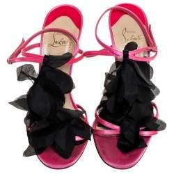Christian Louboutin Pink/Black Satin Mount Street T-Strap Sandals Size 39