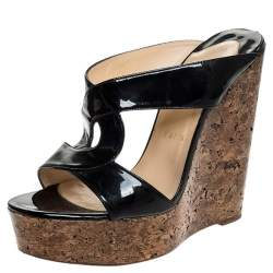 Christian Louboutin Black Twist Patent Leather Cork Platform Wedge Sandals Size 39.5