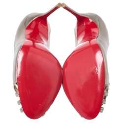 Christian Louboutin Metallic Cut Out Leather Peep Toe So Kate Pumps Size 37