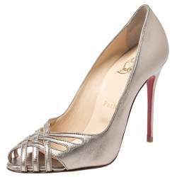 Christian Louboutin Metallic Cut Out Leather Peep Toe So Kate Pumps Size 37