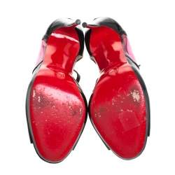 Christian Louboutin Black Patent Leather Cora Heart Detail Open Toe Ankle Strap Pumps Size 38