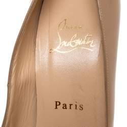 Christian Louboutin Beige Patent Leather Bianca Platform Pumps Size 39