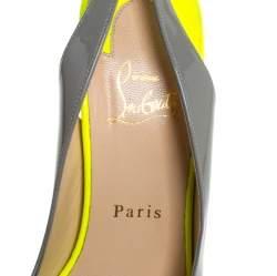 Christian Louboutin Colorblock Patent Leather Lady Peep Toe Platform Slingback Sandals Size 38