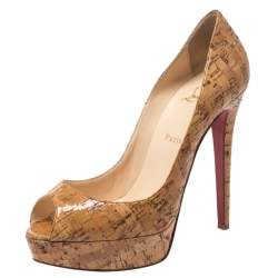 Christian Louboutin Beige Cork Lady Peep Toe Platform Pumps Size 40