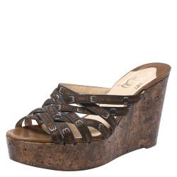 Christian Louboutin Brown Fabric Cork Wedge Platform Strappy Sandals Size 37.5