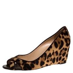 Christian Louboutin Leopard Print Pony Hair Peep Toe Wedges Size 38.5