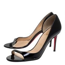 Christian Louboutin Black Patent Leather Toboggan Sandals Size 37.5