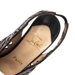 Christian Louboutin Black Lasercut Leather Markesling Slingback Sandals Size 36.5
