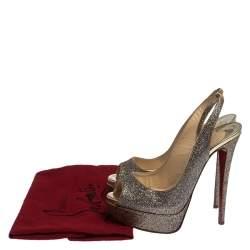 Christian Louboutin Multicolor Glitter Fabric Lady Peep Toe Platform Slingback Sandals Size 36.5