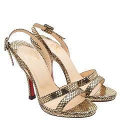 Christian Louboutin Gold Leather Fine Romance 120 Sandals Size 38