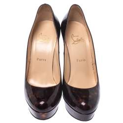 """حذاء كعب عالي كريستيان لوبوتان """"بيانكا"""" بنعل سميك جلد لامع مطبوع ترتواز بني مقاس 39"""