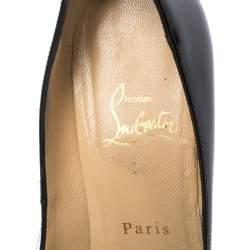 Christian Louboutin Black Patent Leather Very Prive Peep Toe Pumps Size 38