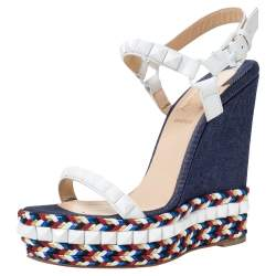 Christian Louboutin White Leather Cataclou Denim Wedge Platform Ankle Strap Sandals Size 37