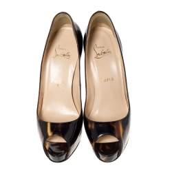 Christian Louboutin Black/Gold Glitter Patent Very Prive Peep Toe Pumps Size 39