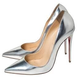 Christian Louboutin Metallic Silver Patent So Kate Pumps Size 41