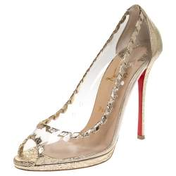 Christian Louboutin Gold Foil Leather And PVC Hargaret Peep Toe  Pumps Size 40