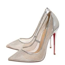 Christian Louboutin Silver Mesh Follies Resille Pointed Toe Pumps Size 38