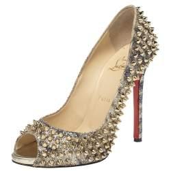 Christian Louboutin Gold Glitter Spike Peep Toe Pumps Size 38