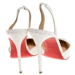 Christian Louboutin White Leather Calamijane Metal Cap Toe Slingback Sandals Size 40