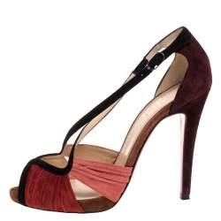 Christian Louboutin Multicolor Suede Criss Cross Ankle Strap Sandals Size 38