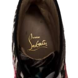 Christian Louboutin Multicolor Leopard Print Calf Hair Rantus Orlato High Top Sneakers Size 38