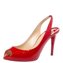 Christian Louboutin Red Patent Leather Flo Peep Toe Slingback Sandals Size 41