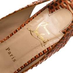Christian Louboutin Orange Python Leather Slingback Lady Peep Toe Platform Sandals Size 39