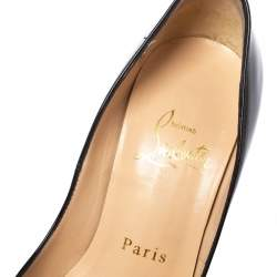 Christian Louboutin Black Patent Leather Lady Peep Toe Platform Pumps Size 35