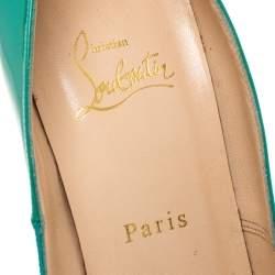 Christian Louboutin Turquoise Patent Leather Bianca Platform Pumps Size 39.5