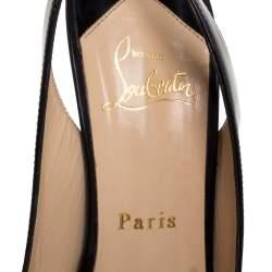 Christian Louboutin Black Patent Leather Flo Slingback Peep Toe Sandals Size 38