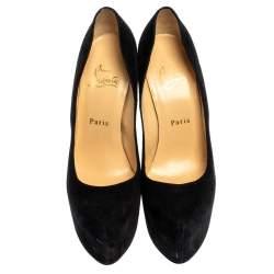 Christian Louboutin Black Suede Leather Daffodile Platform Pumps Size 38.5