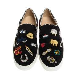 Christian Louboutin Black Suede Miss Academy Slip On Sneakers Size 35