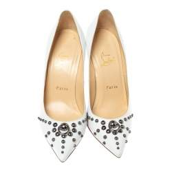 Christian Louboutin White Leather Door Nock Studded Pointed Toe Pumps Size 38