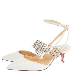 Christian Louboutin White Lizard Embossed Leather Levita Slingback Pointed Toe Sandals Size 38