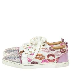 Christian Louboutin Multicolor Leather and Canvas Gondola Strass Kiss Low Top Sneakers Size 37.5