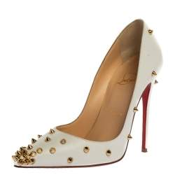 Christian Louboutin White Leather Degraspike Pumps Size 36