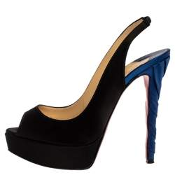 Christian Louboutin Black/Blue Satin Prive Peep Toe Slingback Sandals Size 37