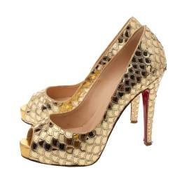 Christian Louboutin Gold Sequin Very Prive Peep Toe Platform Pumps Size 37