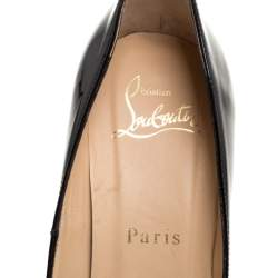 Christian Louboutin Black Patent Leather Cork Wedge Peep Toe Platform Pumps Size 37